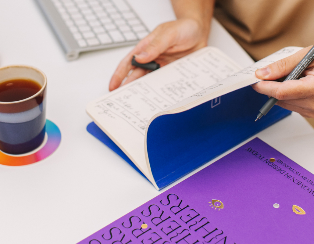 Blue and yellow triangle shaped art objects